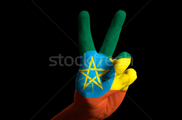ethiopia national flag two finger up gesture for victory and win Stock photo © vepar5