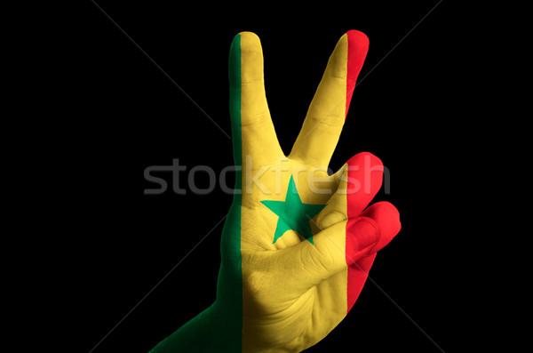 Szenegál zászló kettő ujj felfelé kézmozdulat Stock fotó © vepar5
