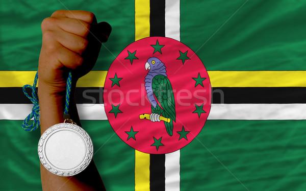 Zilver medaille sport vlag Dominica Stockfoto © vepar5