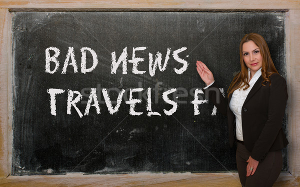 Teacher showing Bad news travels fast on blackboard Stock photo © vepar5