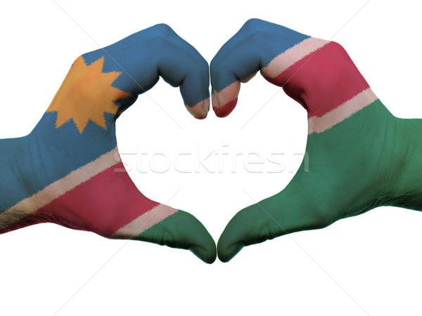 Kalp sevmek jest Namibya bayrak renkler Stok fotoğraf © vepar5
