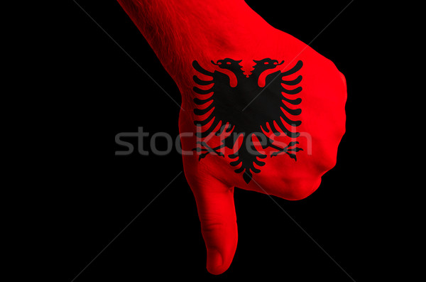 albania national flag thumb down gesture for failure made with h Stock photo © vepar5