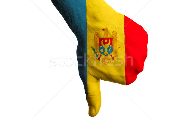 moldova national flag thumbs down gesture for failure made with  Stock photo © vepar5