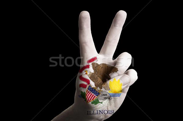 Illinois bayrak iki parmak yukarı jest Stok fotoğraf © vepar5