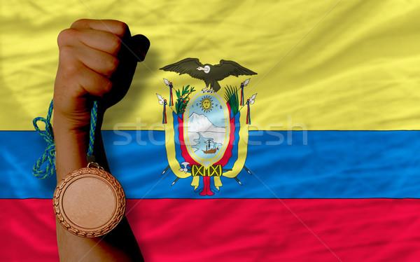 Bronz madalya spor bayrak Ekvador Stok fotoğraf © vepar5