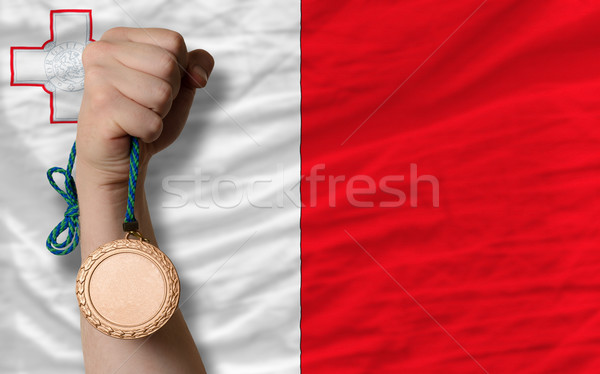 Bronze medal for sport and  national flag of malta    Stock photo © vepar5