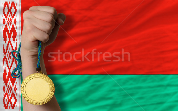 Gold medal for sport and  national flag of belarus    Stock photo © vepar5