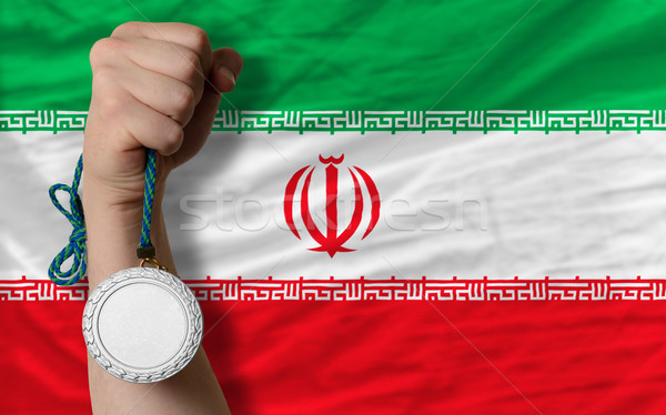 Gümüş madalya spor bayrak İran Stok fotoğraf © vepar5