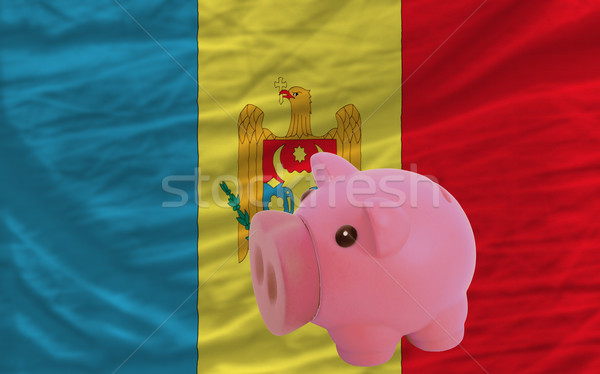 piggy rich bank and  national flag of moldova    Stock photo © vepar5