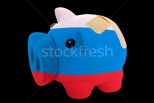 bankrupt piggy rich bank in colors of national flag of russia    Stock photo © vepar5