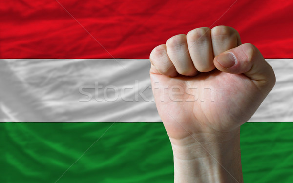 Hard fist in front of hungary flag symbolizing power Stock photo © vepar5