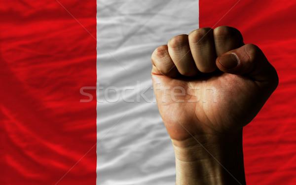 Yumruk Peru bayrak güç bütün Stok fotoğraf © vepar5