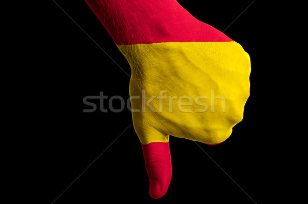 spain national flag thumbs down gesture for failure made with ha Stock photo © vepar5