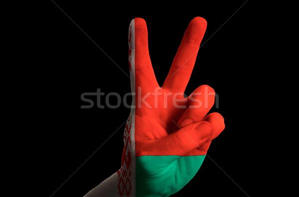 Bielorrusia bandera dos dedo hasta gesto Foto stock © vepar5