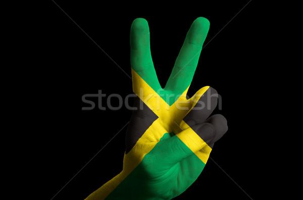 Jamaica zászló kettő ujj felfelé kézmozdulat Stock fotó © vepar5