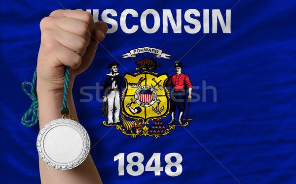 серебро медаль спорт флаг американский Висконсин Сток-фото © vepar5