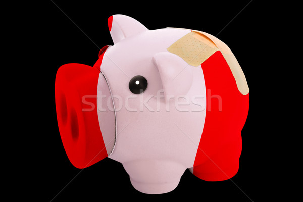 bankrupt piggy rich bank in colors of national flag of peru    c Stock photo © vepar5