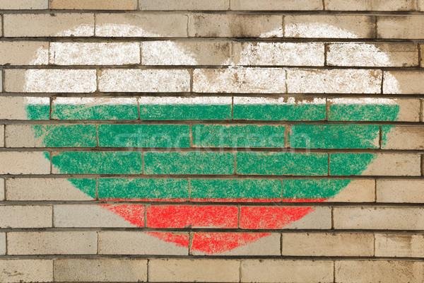 формы сердца флаг Болгария кирпичная стена сердце Сток-фото © vepar5