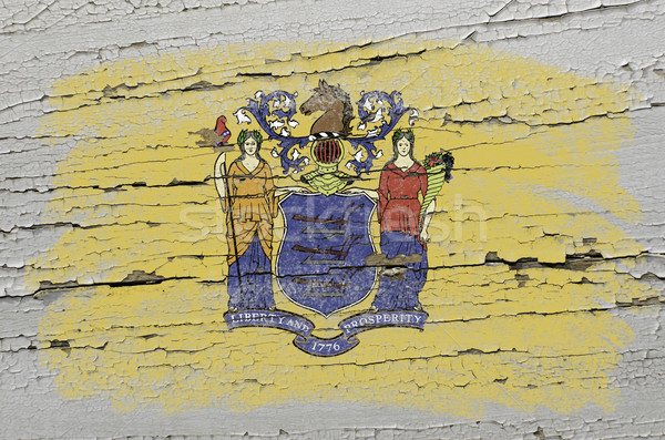 flag of US state of new jersey on grunge wooden texture precise  Stock photo © vepar5