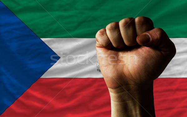 Vuist Guinea vlag macht compleet geheel Stockfoto © vepar5