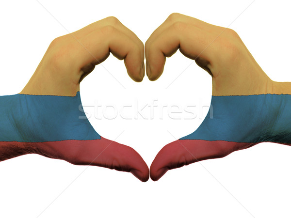 Heart and love gesture in colombia flag colors by hands isolated Stock photo © vepar5