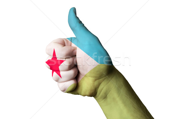 djibuti national flag thumb up gesture for excellence and achiev Stock photo © vepar5