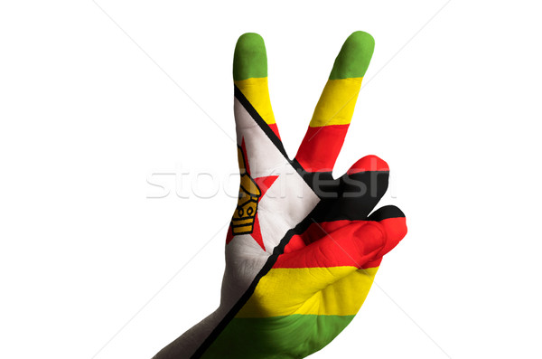 ジンバブエ フラグ 2 指 アップ ジェスチャー ストックフォト © vepar5