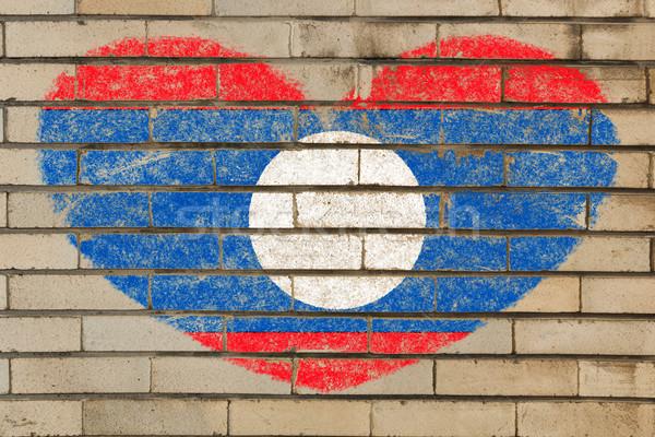 Forme de coeur pavillon Laos mur de briques coeur Photo stock © vepar5