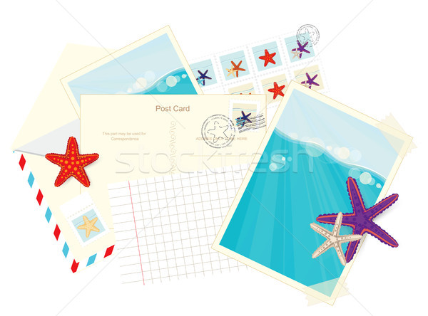 Photos, postcards, envelopes and starfish stickers Stock photo © veralub
