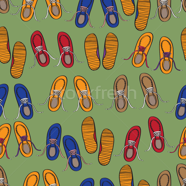 Rows of colourful casual shoes Stock photo © veralub