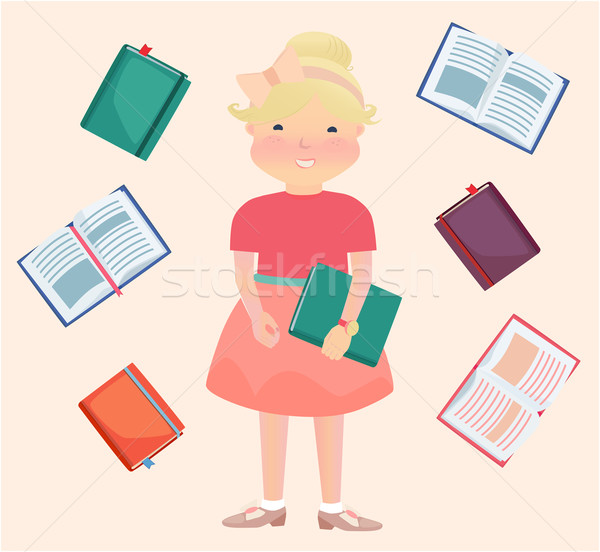 Cartooned School Girl Surrounded by Reading Books Stock photo © veralub