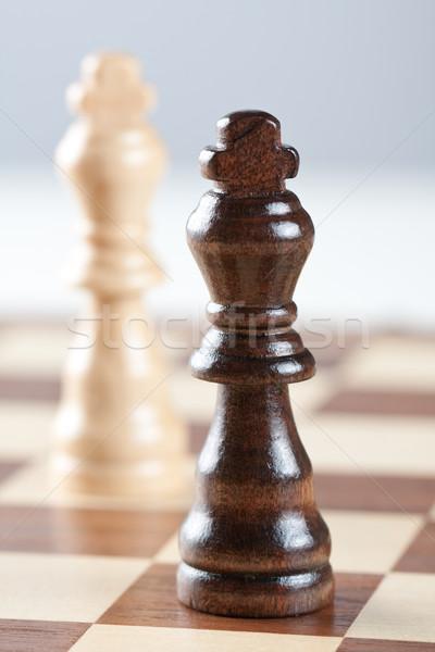 Iki satranç tahtası siyah beyaz satranç sığ Stok fotoğraf © veralub