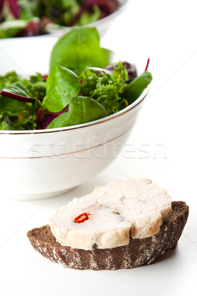 Fresh bread served with tossed green salad Stock photo © veralub
