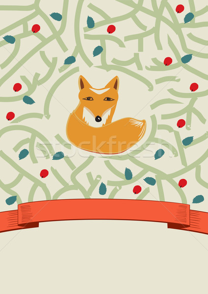Little fox in a forest card design Stock photo © veralub