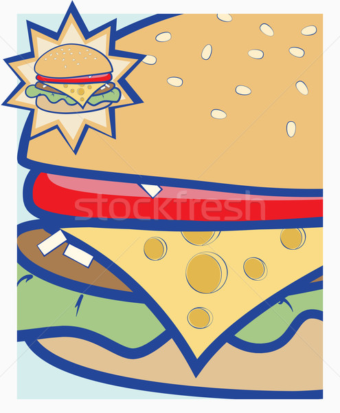 Cheeseburger Vektor Karikatur Illustration Stock foto © veralub