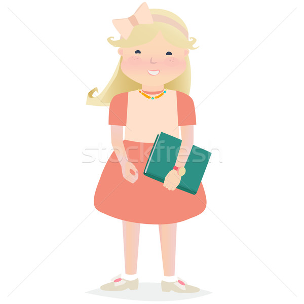 Genç kız kitap mutlu kız eğitim Stok fotoğraf © veralub