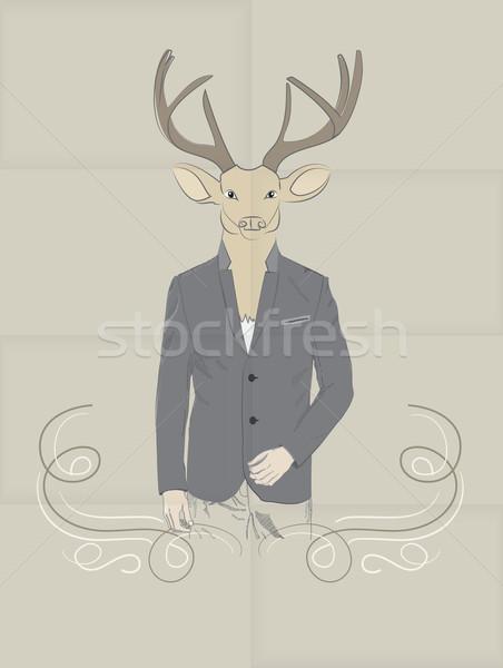 手描き 鹿 スーツ ヴィンテージ 実例 ストックフォト © veralub