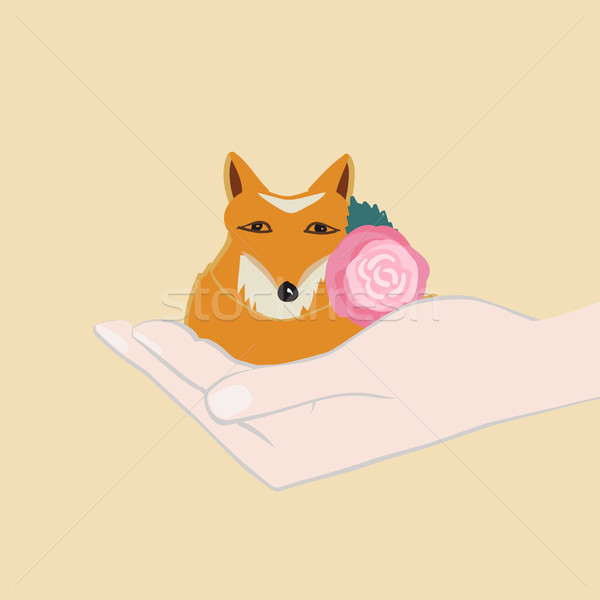 Adorable little fox with a pink flower Stock photo © veralub