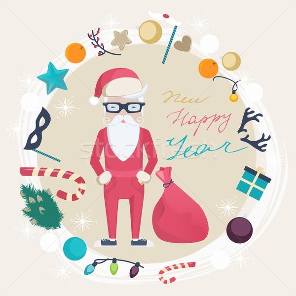 Noel yılbaşı kart komik noel baba Stok fotoğraf © veralub