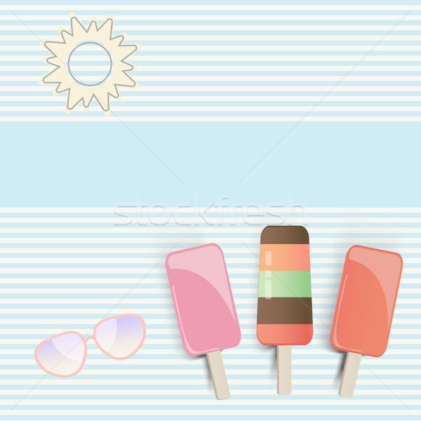 Tre strisce illustrazione sole occhiali da sole blu Foto d'archivio © veralub
