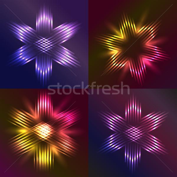 Ayarlamak Noel Yıldız ışık dört Stok fotoğraf © veralub