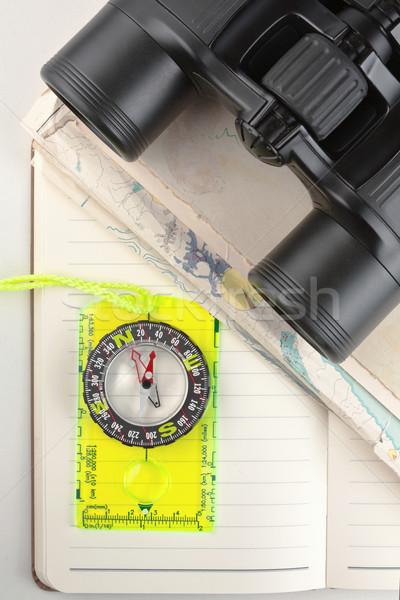 компас бинокль ноутбук готовый Наблюдение за птицами Сток-фото © veralub