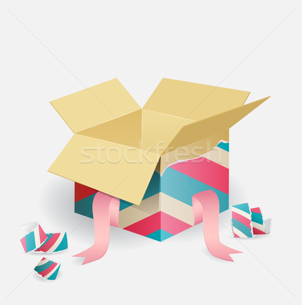 Colorful opened striped gift box Stock photo © veralub