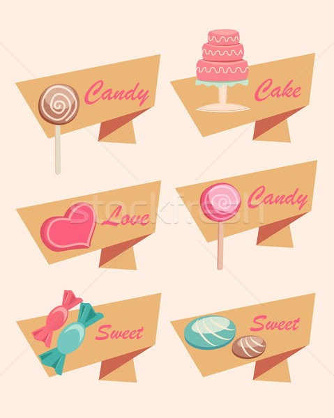 Stock photo: Set of Icons for Sweet, Candy, Cake and Love