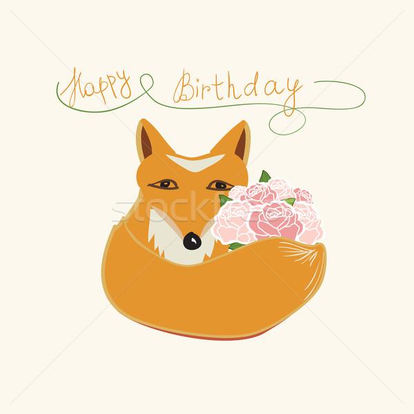 Happy Birthday fox greeting card design Stock photo © veralub