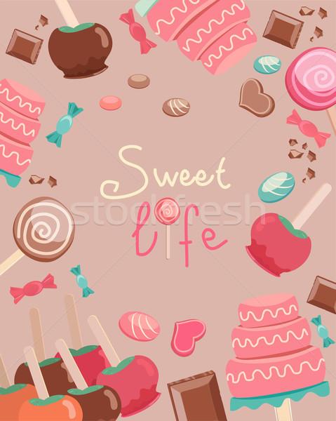 甘い 生活 文字 お菓子 グラフィックス グラフィックデザイン ストックフォト © veralub