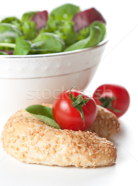 Leafy green salad, tomato and bread Stock photo © veralub