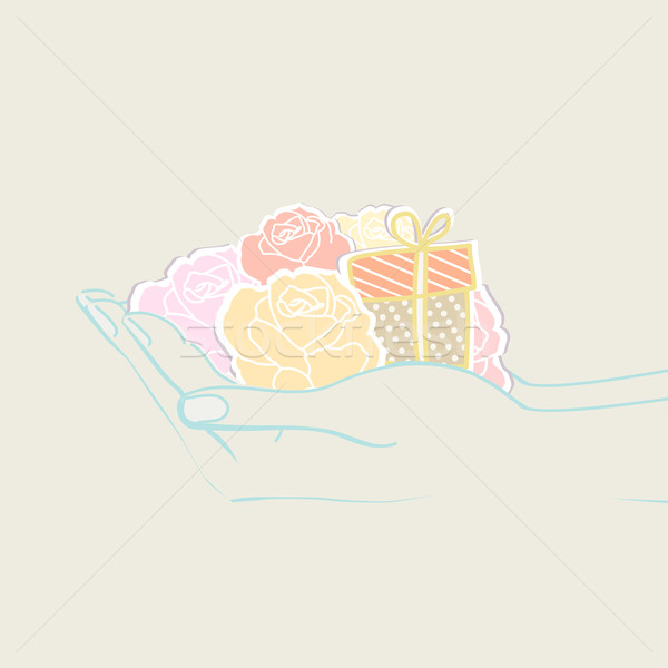 Dois mãos flores dom estilo retro Foto stock © veralub