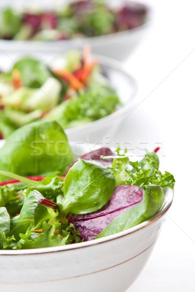 Tálak friss zöld saláta vonal vendéglátás Stock fotó © veralub