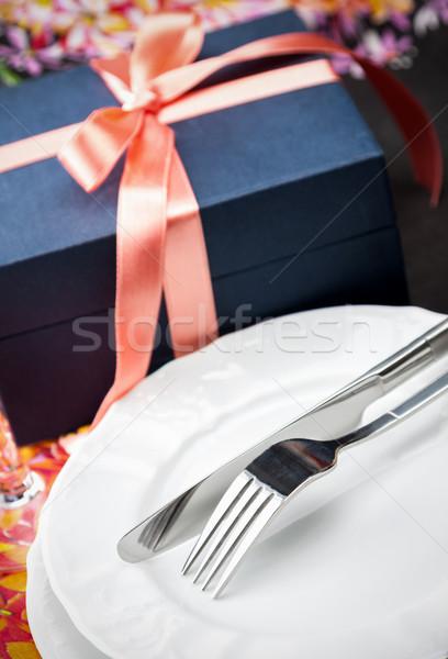 晚餐 板 刀具 禮物 簡單 商業照片 © veralub